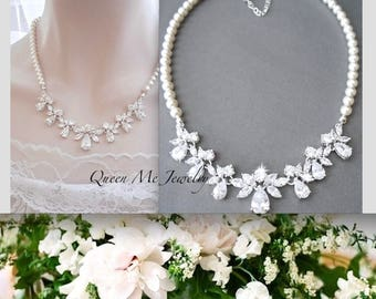 Swarovski pearl necklace Brides necklace Cubic Zirconia's Pearl Wedding Necklace Wedding Bridal jewelry Marquise cut for a bride LILLY