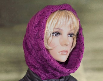 Hooded cowl scarf, Scoodie wool knit, Winter warm cowl, Warm cowl hood, Womens hooded scarf, Wool hooded scarf, Wool scarf snood,