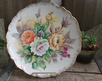 Rose Wall Hanging Plate Vintage 1980's Signed Hand Painted Porcelain Collectible Wall Decor Home Decor