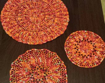 3 Hand crocheted round doilies 3 sizes bright orange red green  hand painted threads  crochet doily
