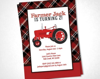 Red Tractor Farmer Birthday Invitiation DIY printable