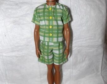 Shirt & short set in green plaid for male fashion dolls - kdc86