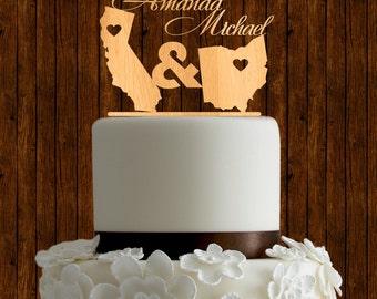 State love cake topper / wood cake topper / wedding cake topper / natural wood cake topper / unique cake topper / destination cake topper
