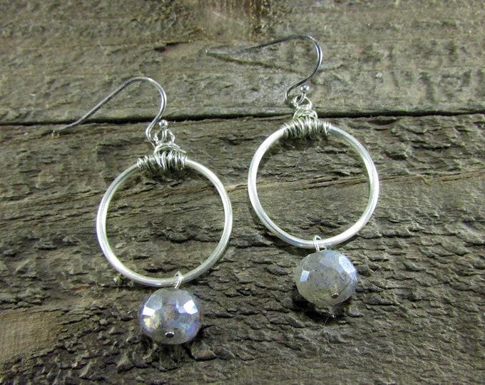 Labradorite Dangle Earring, Simple Earrings, Gemstone Jewelry