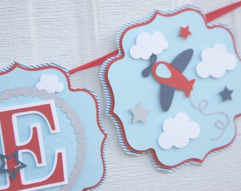 airplane banner, birthday banner, airplane baby shower, airplane baby banner, airplane party decor, airplane decorations, airplane nursery