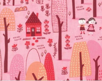 Walk in the Woods on Pink Cotton Woven,  Just Another Walk in the Woods by Moda