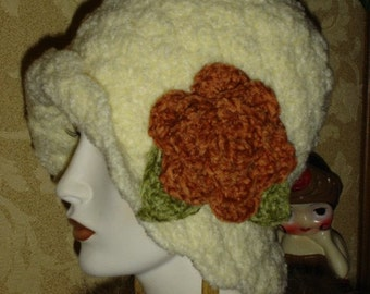 Womens Crochet Flapper Hat Cloche Ivory with Paprika Chenille Rose Pin