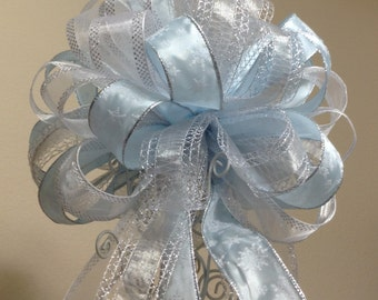 Blue and Silver Snowflake Tree Topper Bow - FREE SHIPPING - Christmas Tree Topper - Tree Topper Bow - Christmas Decoration