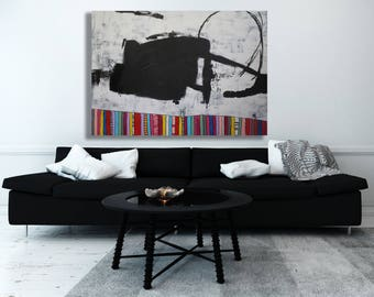 XL Original Texture Painting / Modern Art / Black and White Art / Contemporary Art / Large Abstract Art