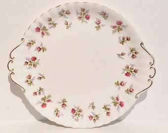 Royal Albert Winsome bone china cake plate, vintage pink roses cake plate, pink and blue floral serving plate, pink roses bone china plate,