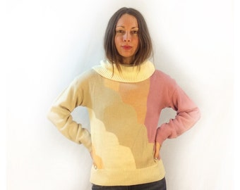 Vintage 70s pastel colorblock turtleneck pullover //  size medium