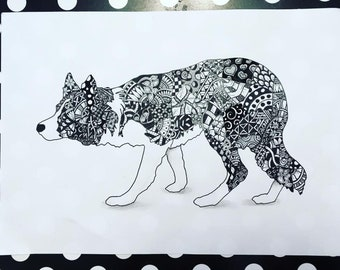 A4 border collie dog series Zentangle inspired art Print