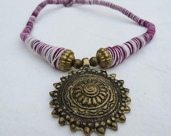 Indigo white sun thread Necklace,pendant Necklace,thread necklace,statement necklace,vintage gold Necklace,BridesmaidNecklace,Christmas gift