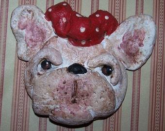 Folk Art Primitive French Bulldog Dog Ornament Girl Dog Ornie Doll