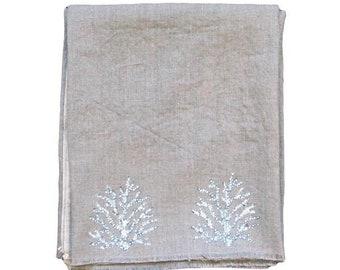 White Sea Coral Print Natural Linen Throw Blanket / Beach Towel, Hand Printed, Handmade Textile, 100% Linen, Coastal Decor