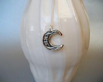 Celtic Moon Pendant, Fine Silver