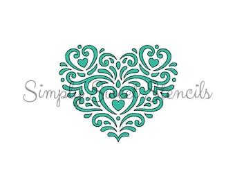 Fancy Scroll Heart Stencil