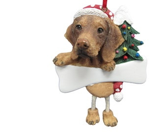 """Vizsla Ornament Personalized with your Dog's Name, Hand Painted with a brush, Measures 5 1/2"""" tall by 3 1/2"""" wide"""