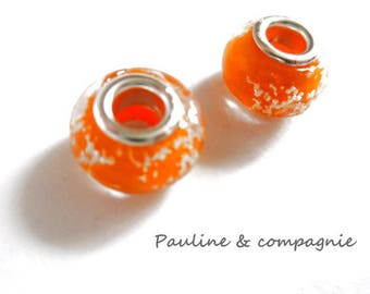 2 orange lampwork glass beads
