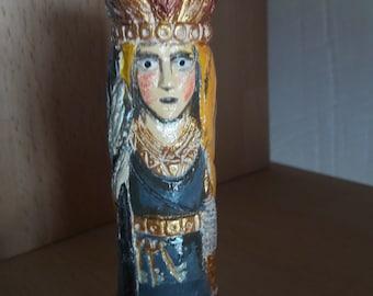 Small Handmade Color Figurine of Frigg
