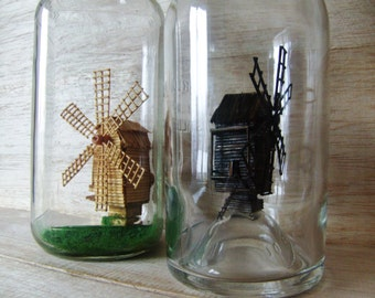Windmill in a bottle, Gift for him, Surprise for her, Husband gift, Room Decor, Fathers day, Wood