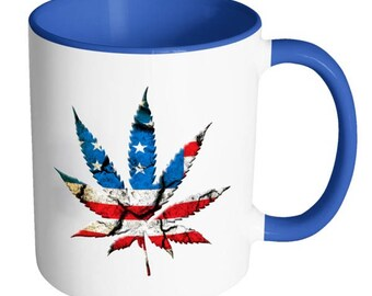 USA Cannabis Leaf Custom Mug, Personalized, Gift For Friend, Gift for Man Or Woman, Drinkware, Coffee Cup, Hot Tea, Hot Chocolate
