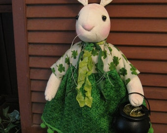 Primitive St. Patrick's Day OOAK Artist Doll Rory O'Rabbit w/Pot o' Gold