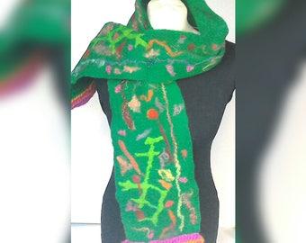 Scarf, felt scarf, green scarf, wool scarf, quirky scarf, merino wool scarf, gift