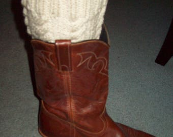 Hand Knitted Boot Toppers ~ Beige ~ Cable Design