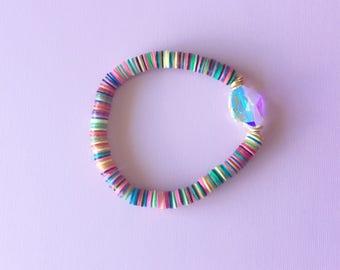 Vintage vinyl heshi bead Swarovski bracelet