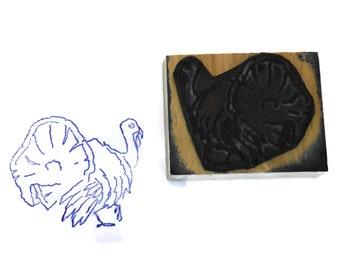 Turkey Rubber Stamp Wood Print Block.