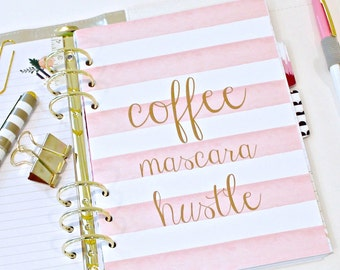 "Planner Dashboard, "" COFFEE MASCARA HUSTLE"" Dashboard, A5 Dashboard, Planner Dividers, Watercolor Stripe Planner Inserts, Personal Planner"