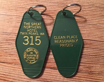 "Gold printed TWIN PEAKS Inspired ""Great Nothern Hotel"" keychain, key fob"