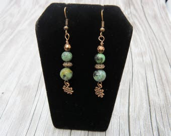 Copper and Green African Turquoise Celtic Knot Earrings