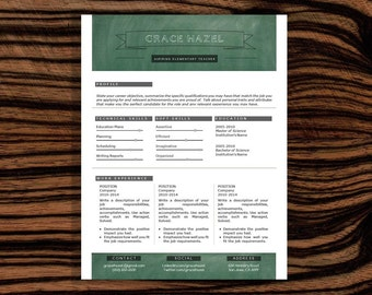 SALE! 2 Page Resume, Resume Template, Modern, Professional Resume Template, Free Cover Letter, Teacher Resume, CV Template,