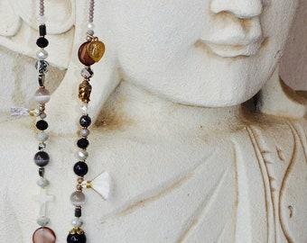 Long silk MarietoutcourtHossegor Hippie Bohemian Chic (60 cm) with tassel necklace