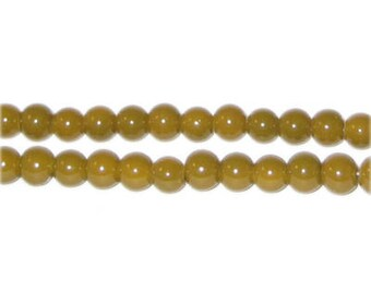 6mm Gold Team and School Glass Bead, approx. 73 beads