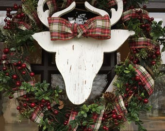 Winter Berry and Green Wreath with Deer