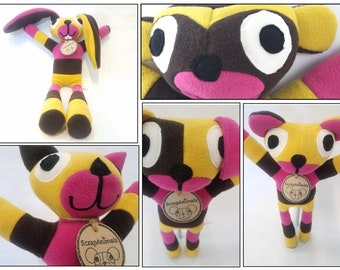 Up-cycled,Fleece,Stuffed Animals,Pink,yellow,Espresso,plushie,bunny,monkey,cat,puppy,bear,Easter