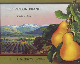 Vintage Repetition Brand Yakima Fruit Original Lithograph Crate Label, 1940's