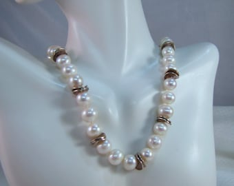 "18"" Beautiful 9mm Freshwater Pearl Necklace with Sterling Disc Beads"