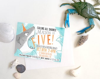 Shark Invite, Kids Shark Party Invite, DIY Printable Shark