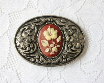 Vintage Cameo Belt Buckle, Rose Belt Buckle, Oval Belt Buckle