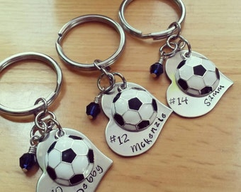 Hand Stamped Personalized Soccer Keychain - Girls Soccer Heart Keychain - Soccer Team Gift - Soccer Gifts - Pick Team color