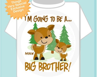 Personalized Big Brother Woodland Deer Tee Shirt or Onesie, I'm going to be a Big Brother with neutral sex baby deer (05282012a)