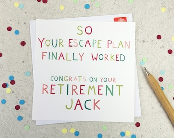 Funny Retirement Card - personalised card -funny card - cheeky card - card for retirement - leaving card - new job - uk