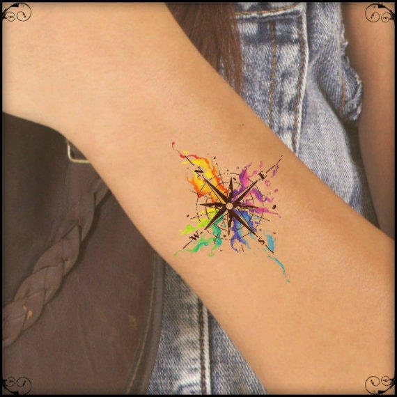 Tatuaggio temporaneo acquerello bussola ultra sottile for Tatoo bussola