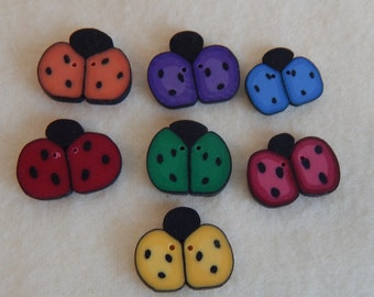 Set of 7 Rainbow Ladybug Polymer Clay Buttons