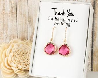 Fuchsia Gold Earrings, Gold Fuschia Earrings, Fuchsia Wedding Jewelry, Bridesmaid Gift, Bridesmaid Earrings, Pink Bridal Accessories