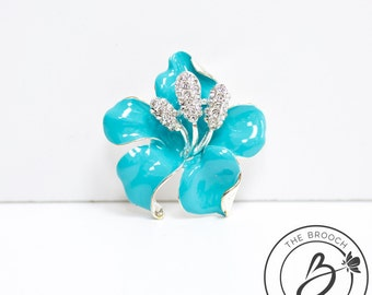 Turquoise brooch, Aqua flower brooch, spa blue brooch, enamel flower brooch, teal bridal brooch, magnolia rose brooch, aqua metal brooch pin